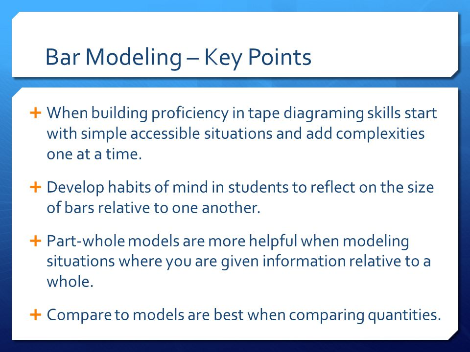 Bar Modeling – Key Points