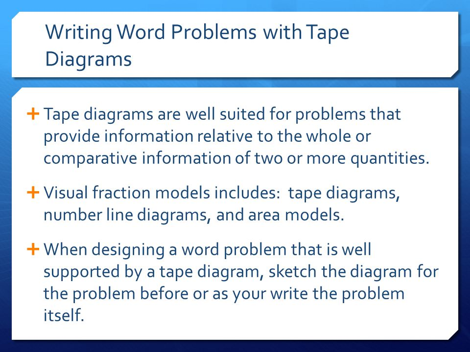 Writing Word Problems with Tape Diagrams