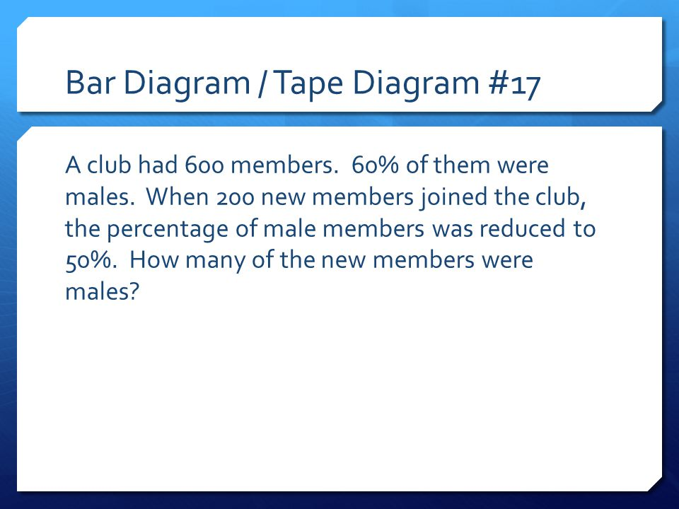 Bar Diagram / Tape Diagram #17