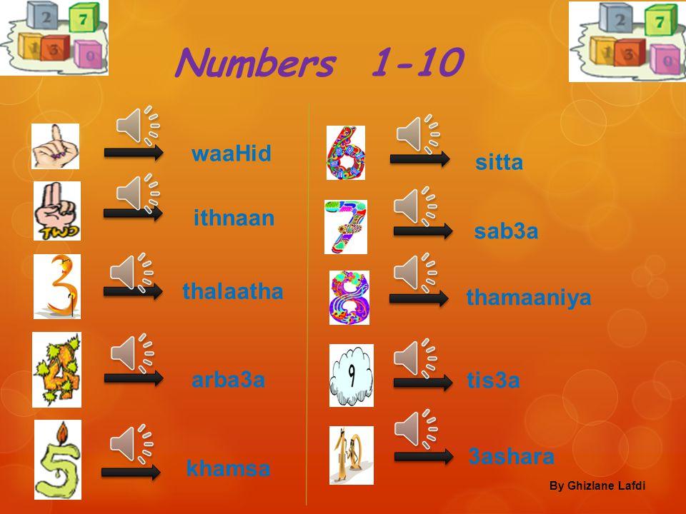 Numbers 1-10 waaHid sitta ithnaan sab3a thalaatha thamaaniya arba3a