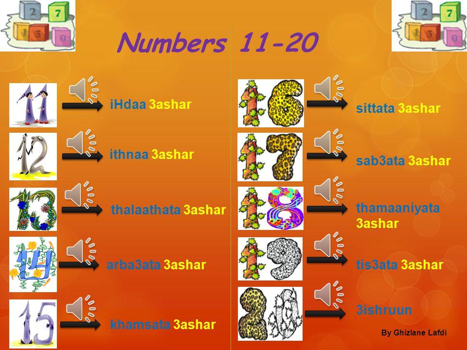 Numbers 11-20 iHdaa 3ashar sittata 3ashar ithnaa 3ashar sab3ata 3ashar