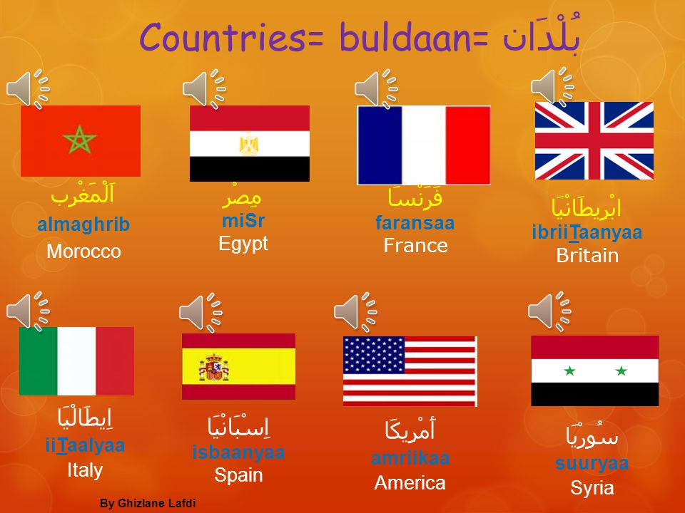 Countries= buldaan= بُلْدَان
