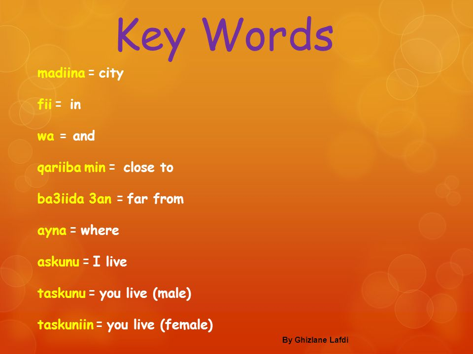 Key Words madiina = city fii = in wa = and qariiba min = close to