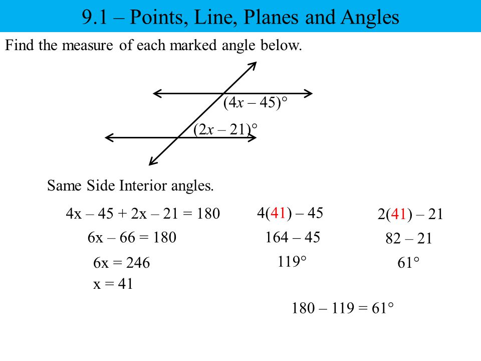 9.1 – Points, Line, Planes and Angles