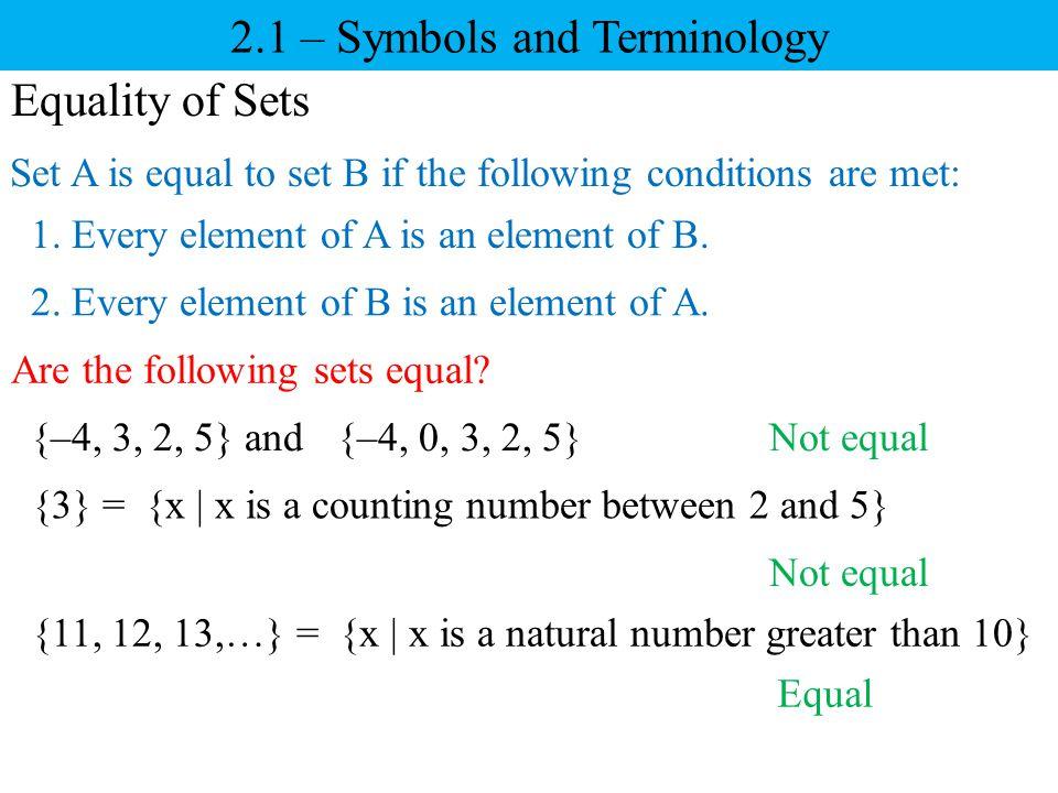 2.1 – Symbols and Terminology