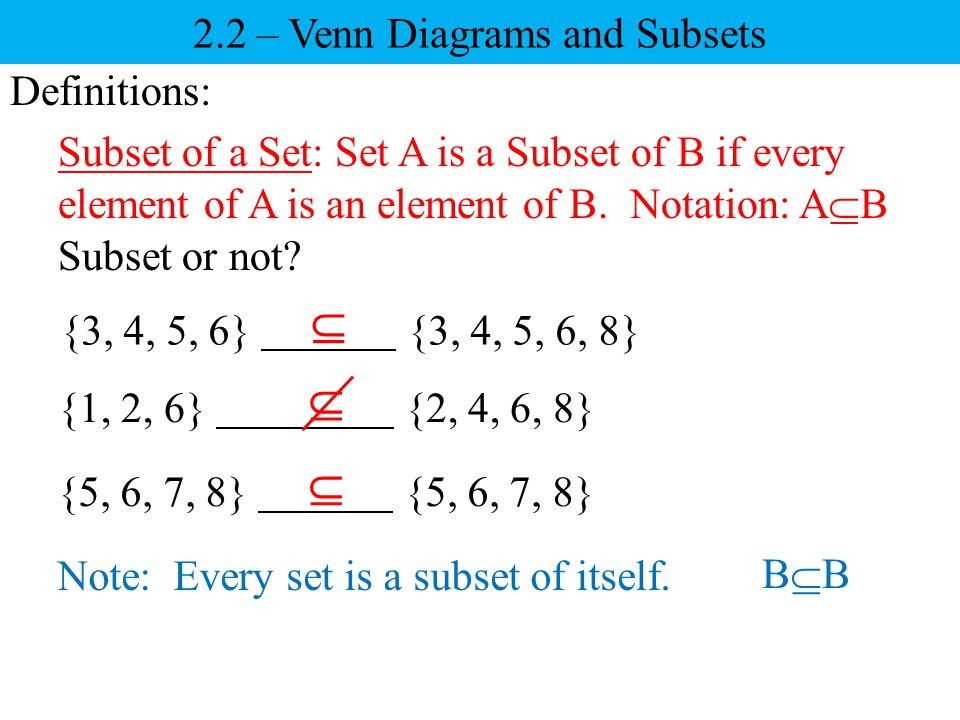 2.2 – Venn Diagrams and Subsets
