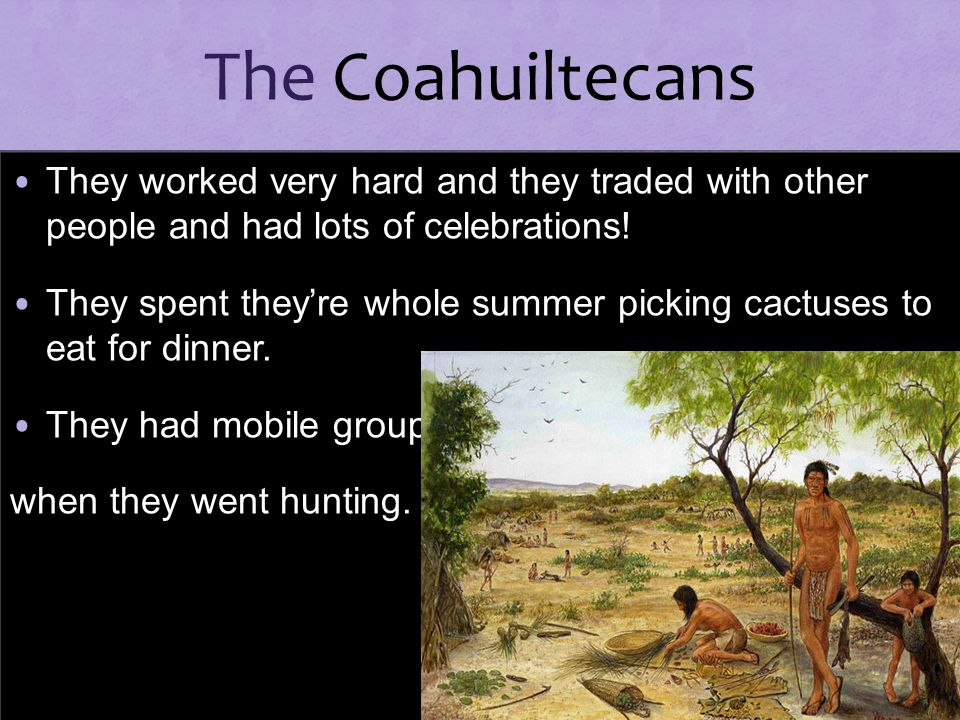 The Coahuiltecans They worked very hard and they traded with other people and had lots of celebrations!
