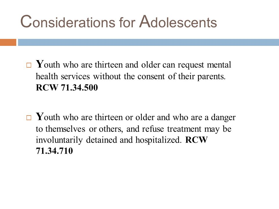 Considerations for Adolescents