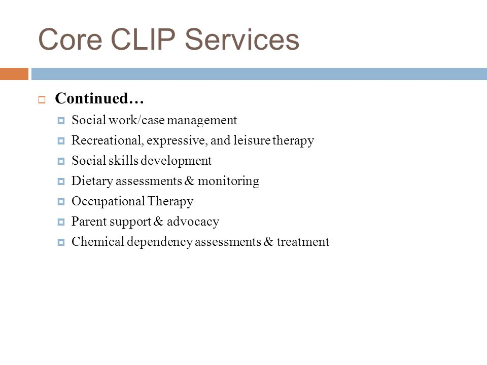 Core CLIP Services Continued… Social work/case management