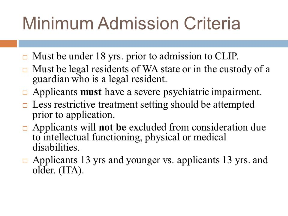Minimum Admission Criteria