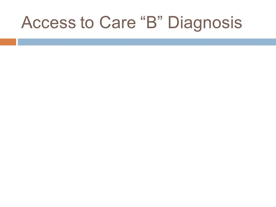 Access to Care B Diagnosis