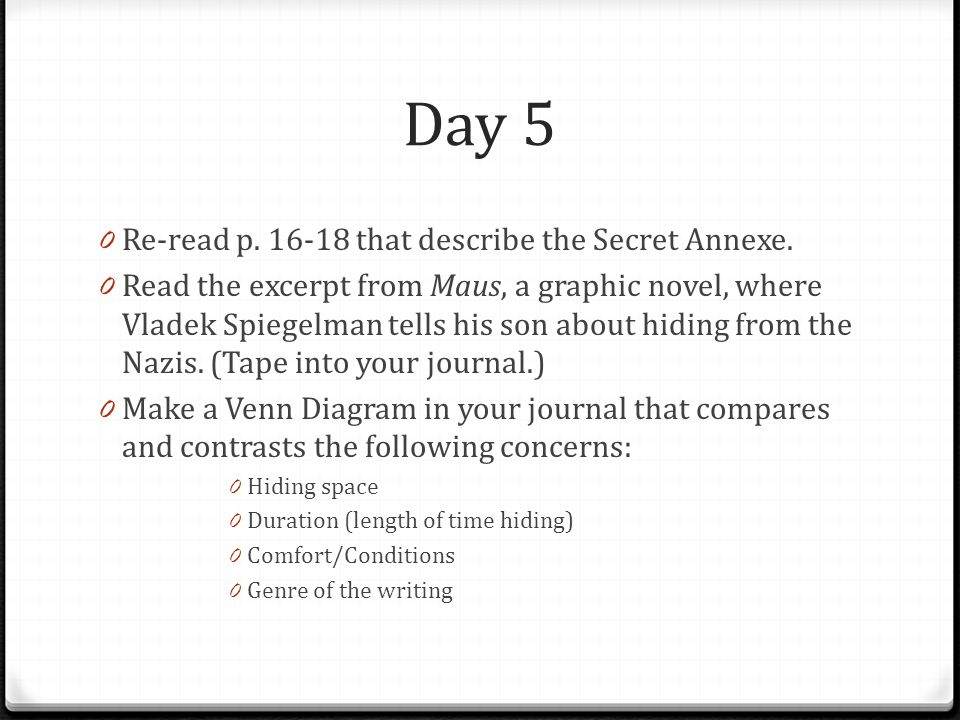 Day 5 Re-read p. 16-18 that describe the Secret Annexe.