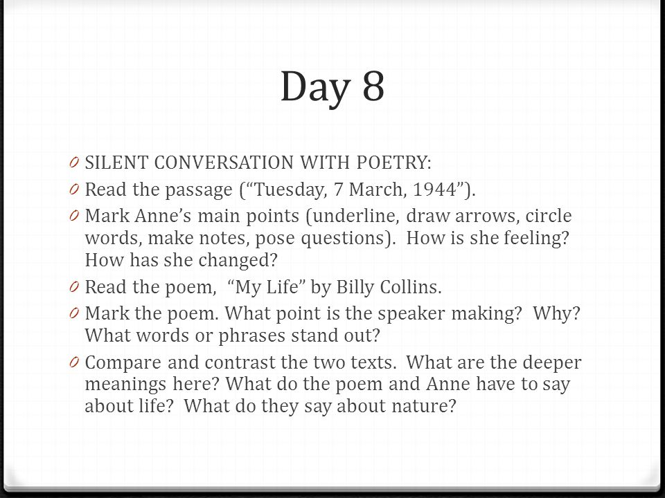 Day 8 SILENT CONVERSATION WITH POETRY: