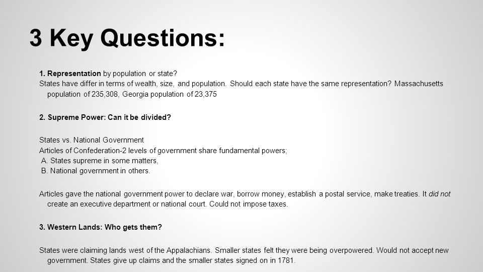 3 Key Questions: 1. Representation by population or state