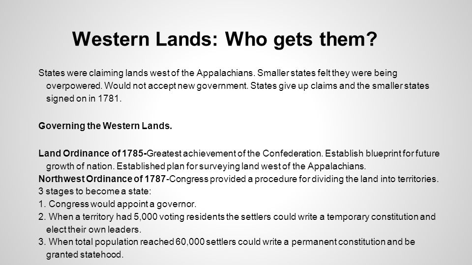 Western Lands: Who gets them