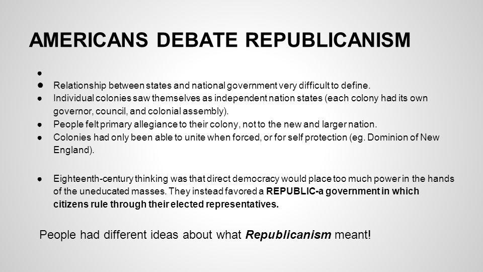 AMERICANS DEBATE REPUBLICANISM
