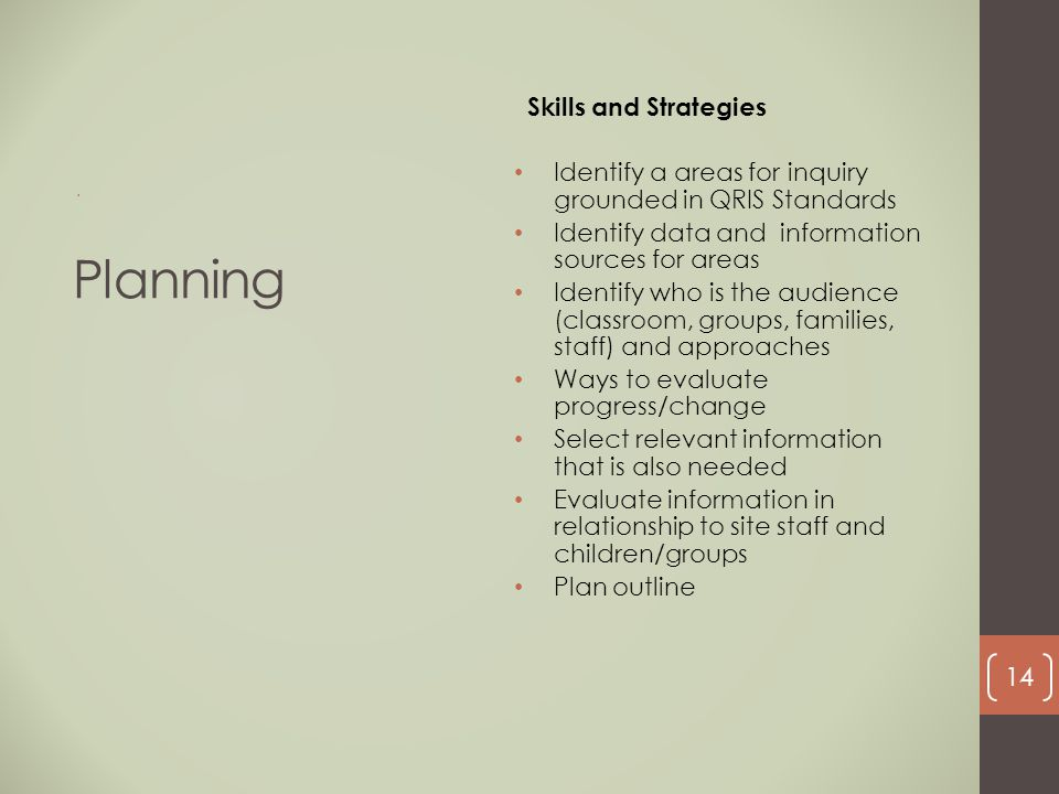 Planning Skills and Strategies