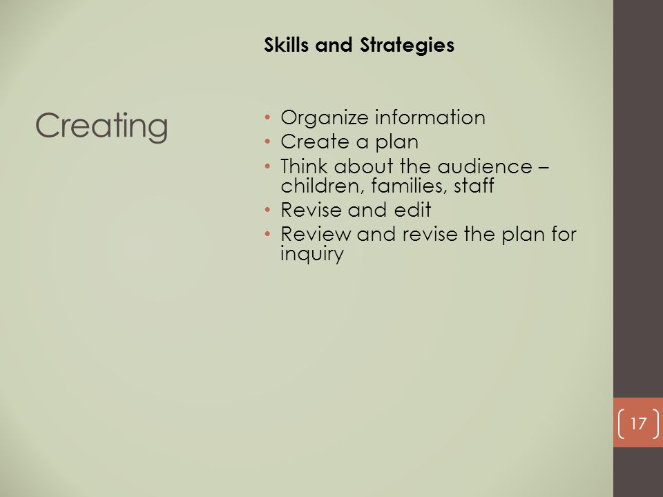 Creating Skills and Strategies Organize information Create a plan
