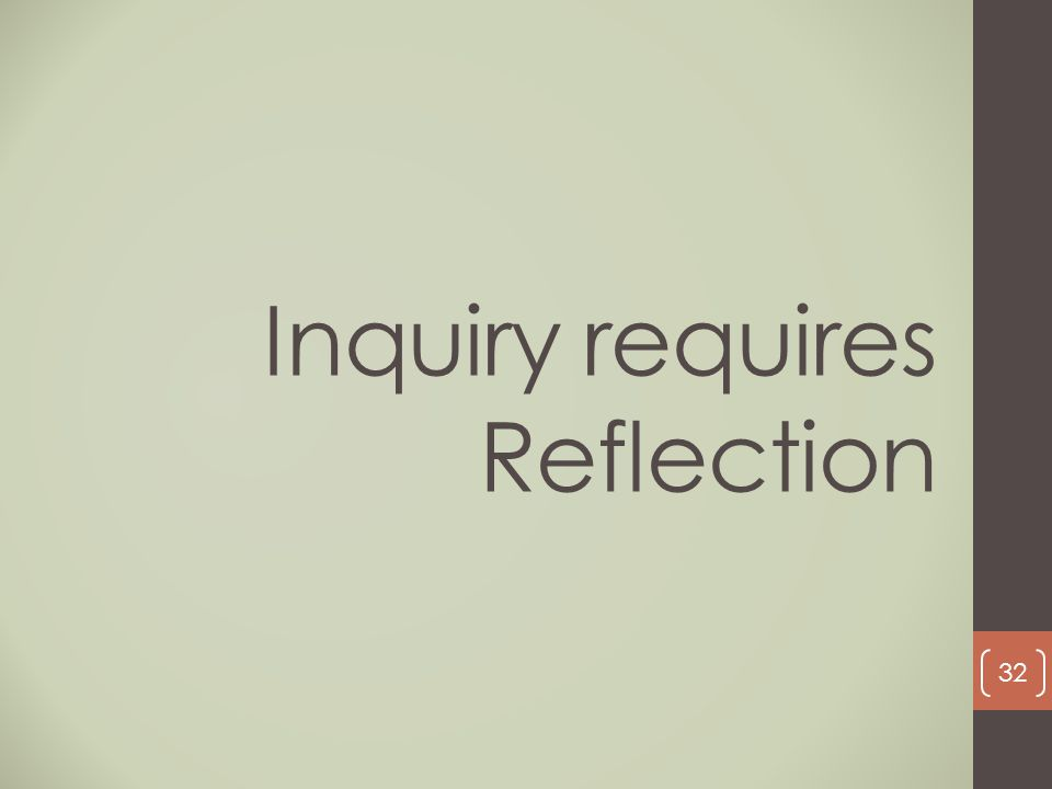 Inquiry requires Reflection