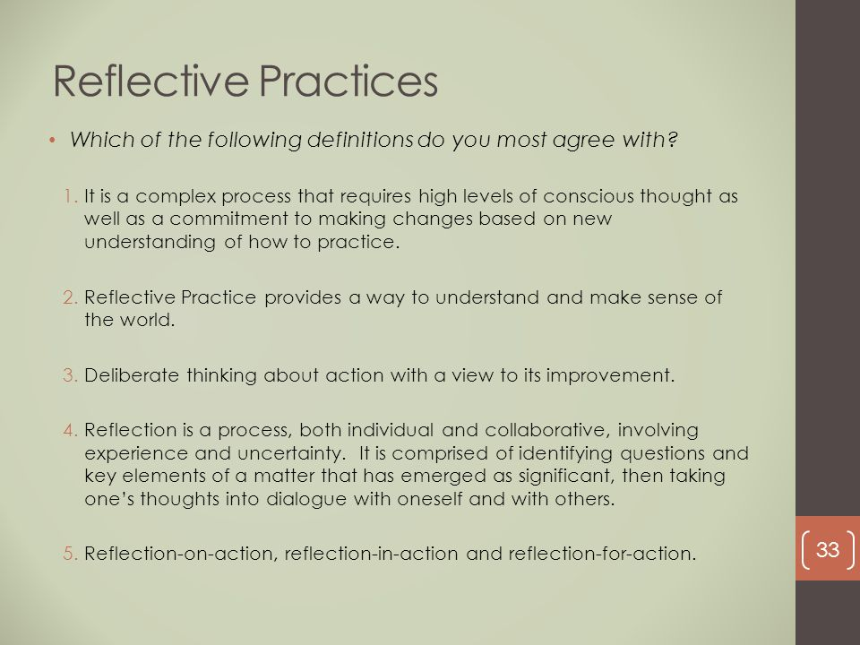 Reflective Practices Which of the following definitions do you most agree with