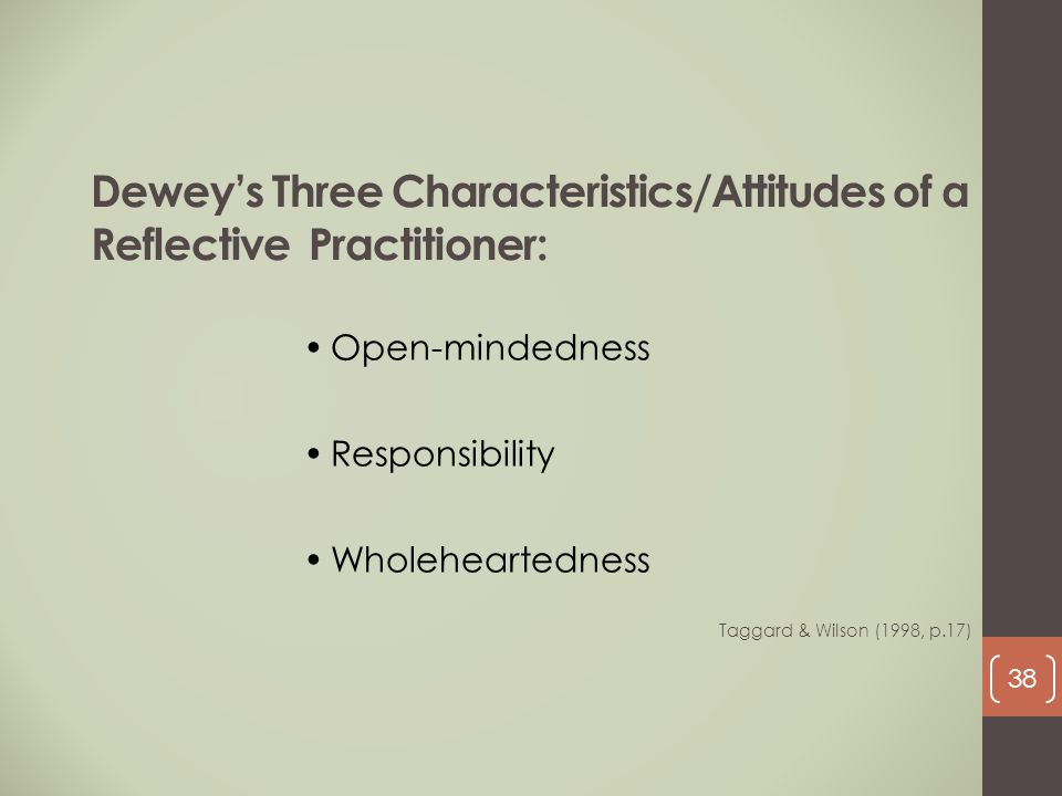 Dewey's Three Characteristics/Attitudes of a Reflective Practitioner: