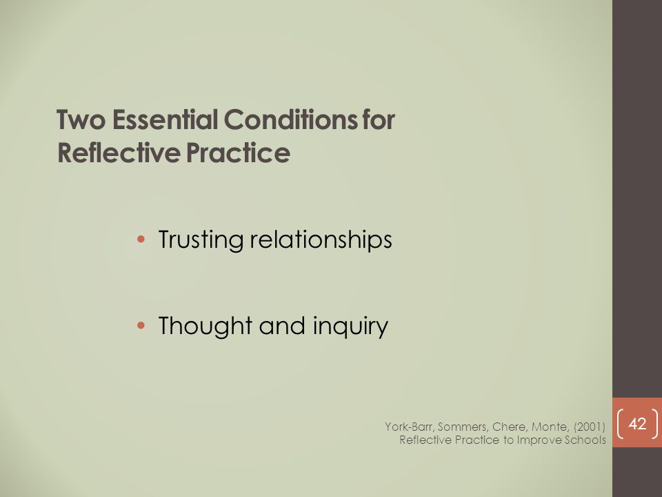 Two Essential Conditions for Reflective Practice