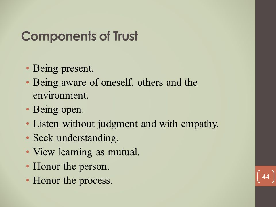 Components of Trust Being present.