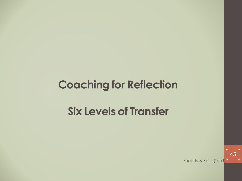 Coaching for Reflection Six Levels of Transfer