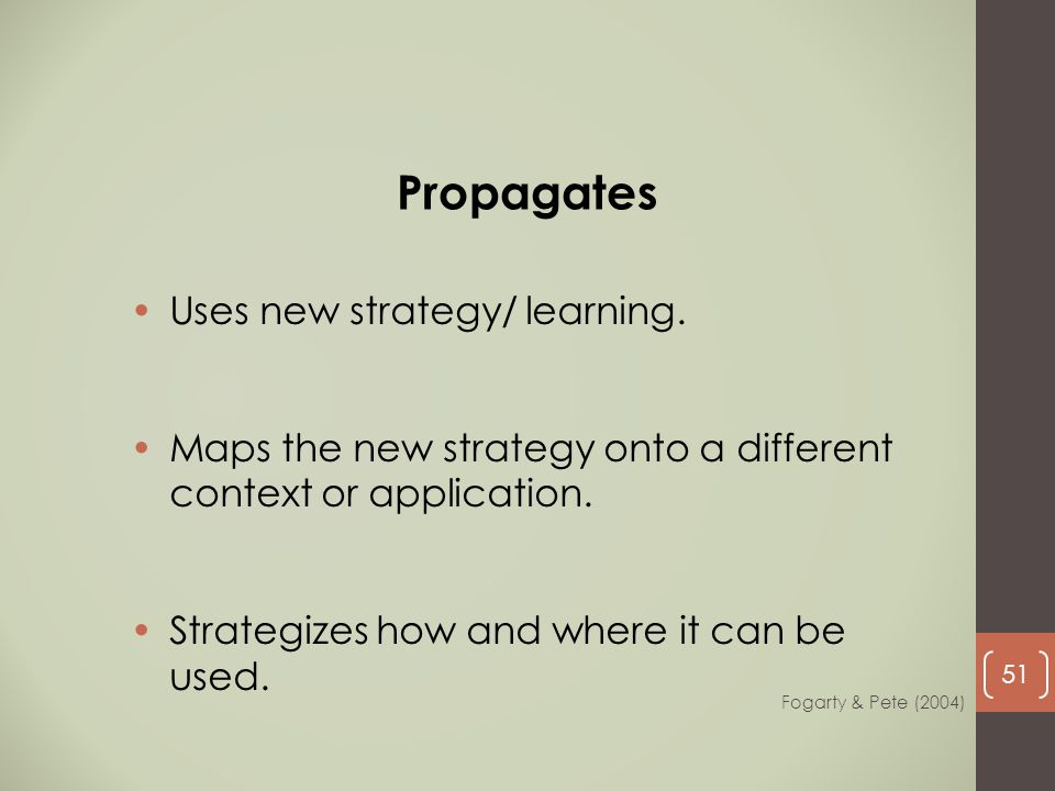 Propagates Uses new strategy/ learning.