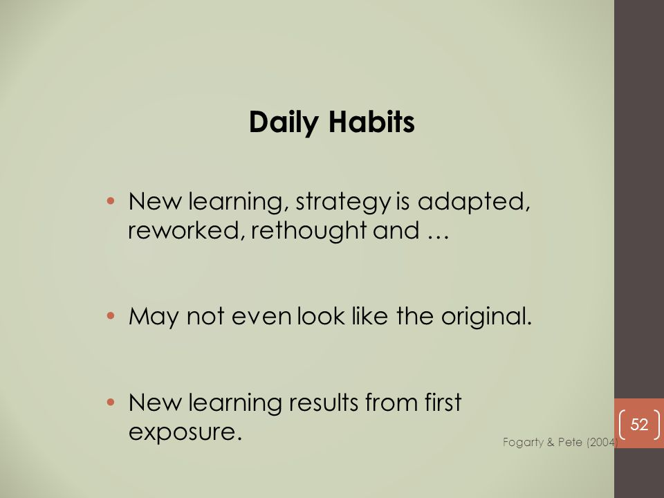 Daily Habits New learning, strategy is adapted, reworked, rethought and … May not even look like the original.