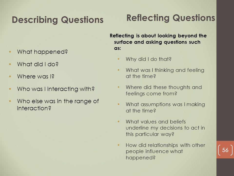 Reflecting Questions Describing Questions