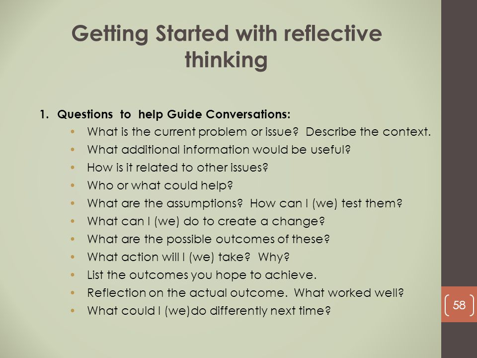 Getting Started with reflective thinking