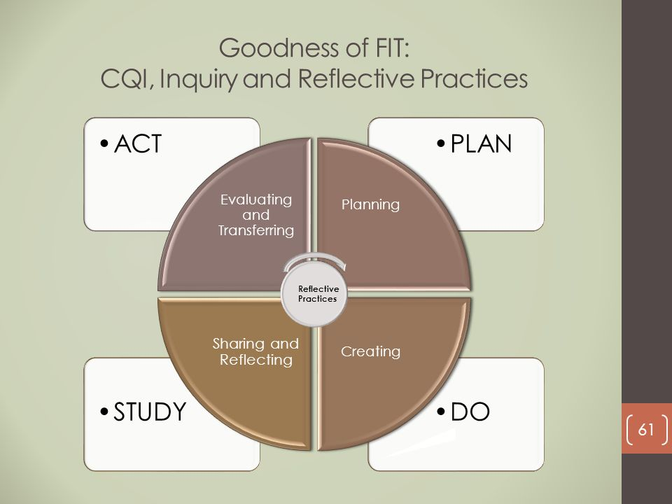 Goodness of FIT: CQI, Inquiry and Reflective Practices