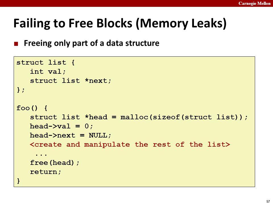 Failing to Free Blocks (Memory Leaks)