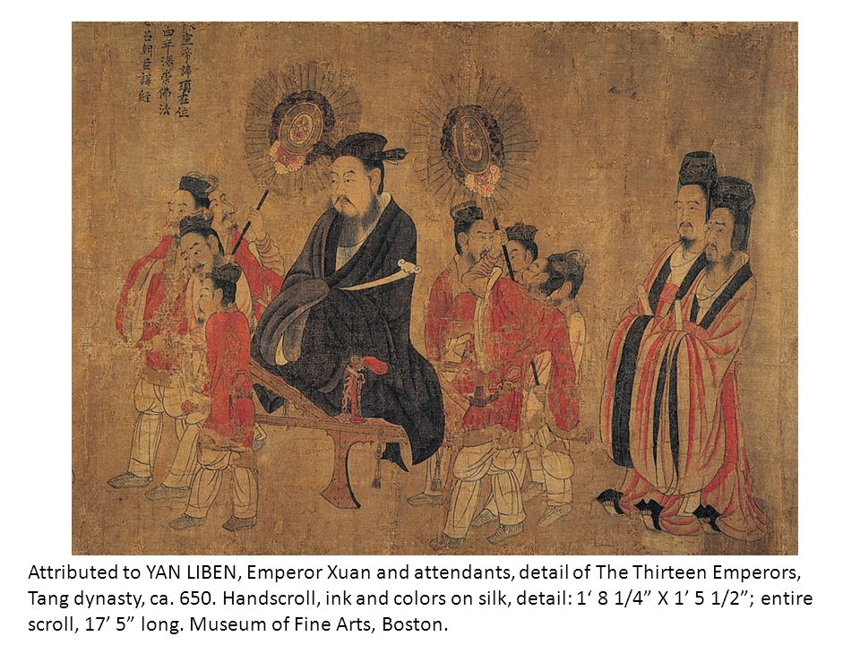 Attributed to YAN LIBEN, Emperor Xuan and attendants, detail of The Thirteen Emperors, Tang dynasty, ca.