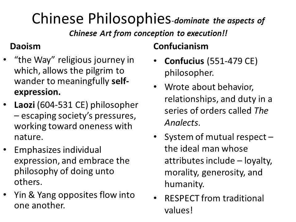Chinese Philosophies-dominate the aspects of Chinese Art from conception to execution!!