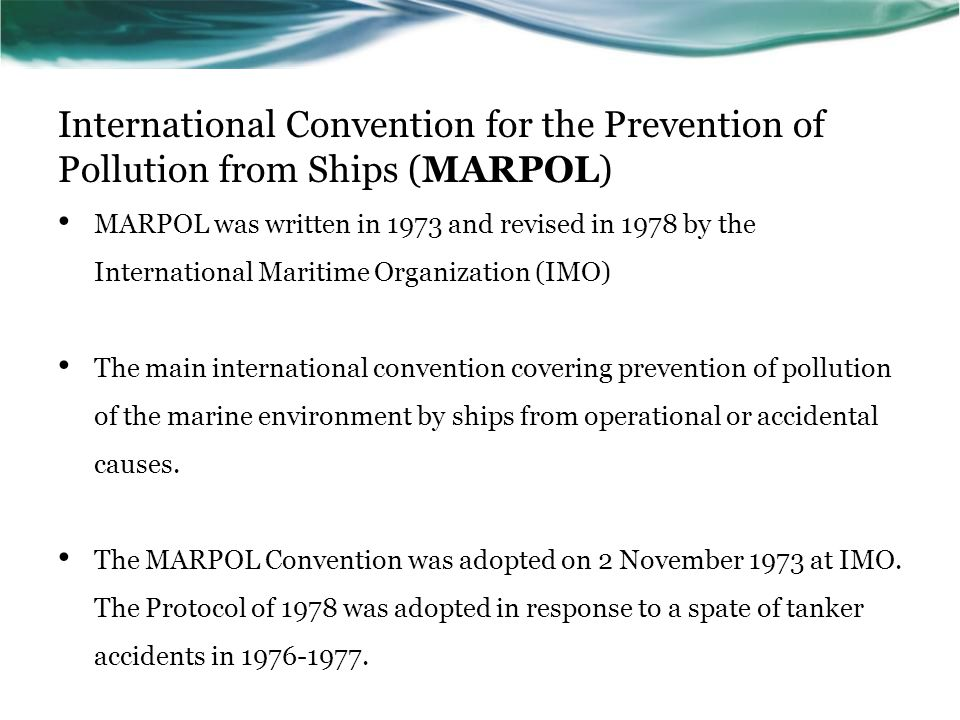 International Convention for the Prevention of Pollution from Ships (MARPOL)