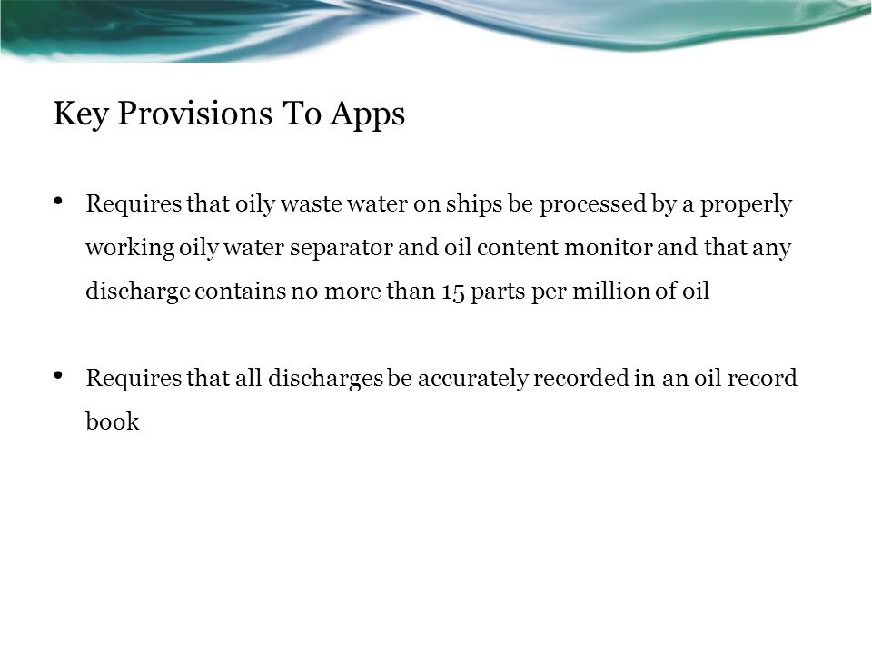 Key Provisions To Apps
