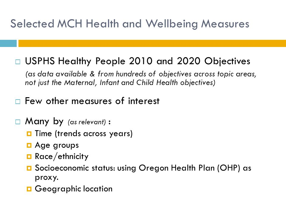 Selected MCH Health and Wellbeing Measures
