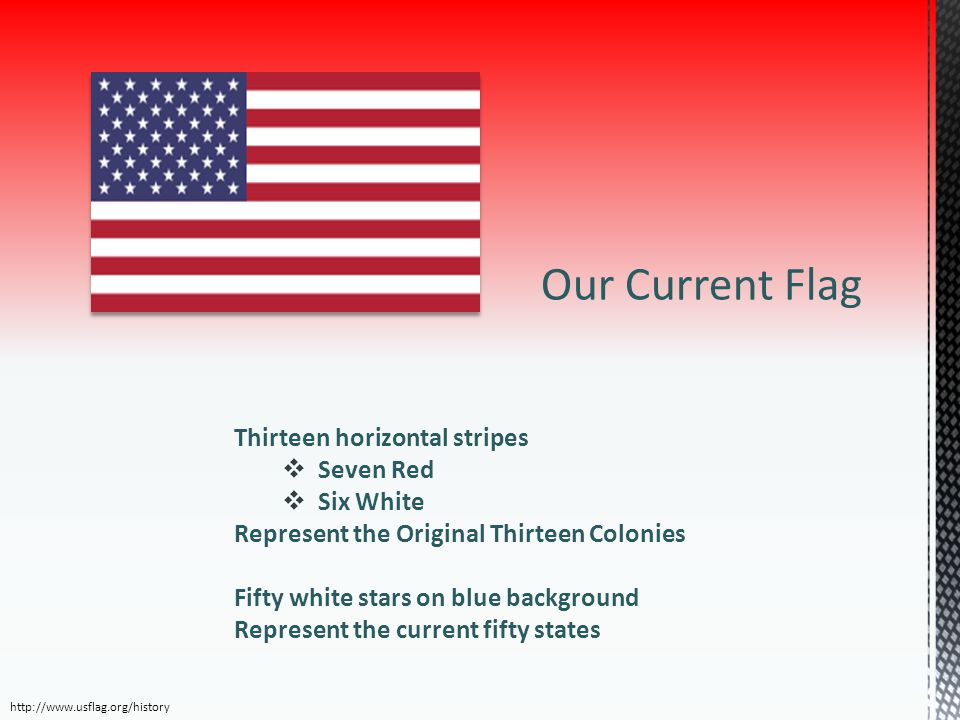Our Current Flag Thirteen horizontal stripes Seven Red Six White
