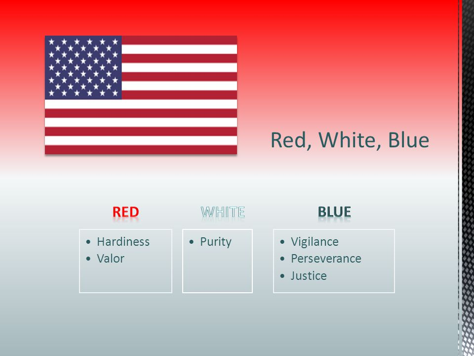 Red, White, Blue Red White Blue Hardiness Valor Purity Vigilance