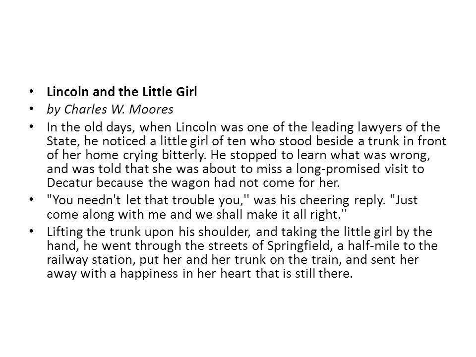 Lincoln and the Little Girl