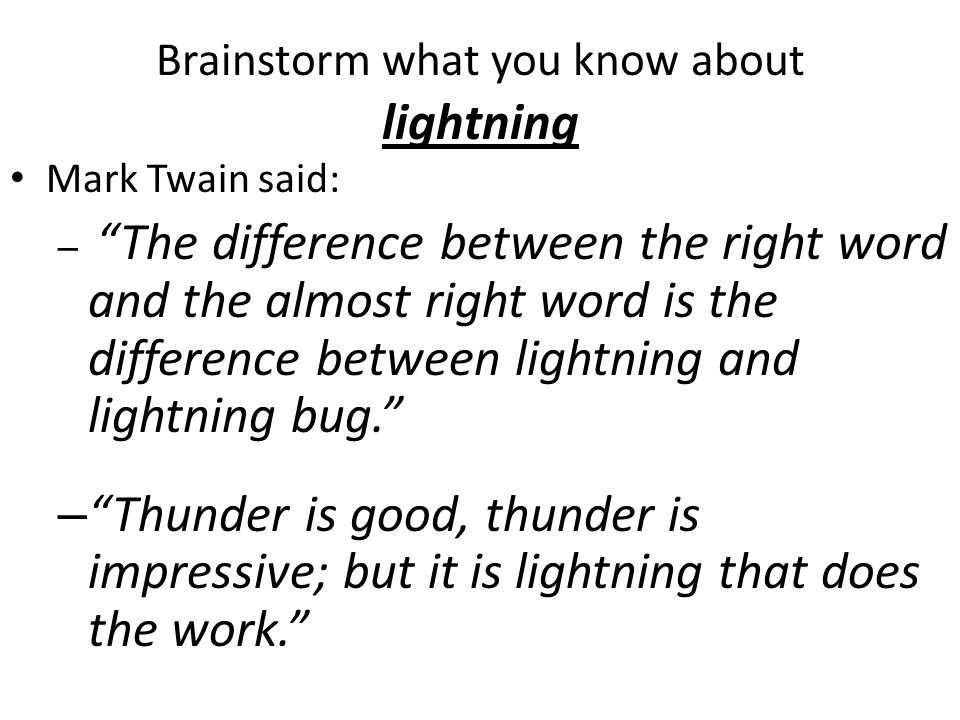 Brainstorm what you know about lightning