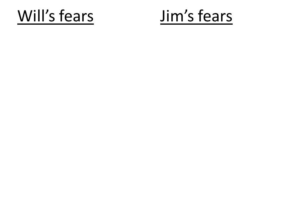 Will's fears Jim's fears