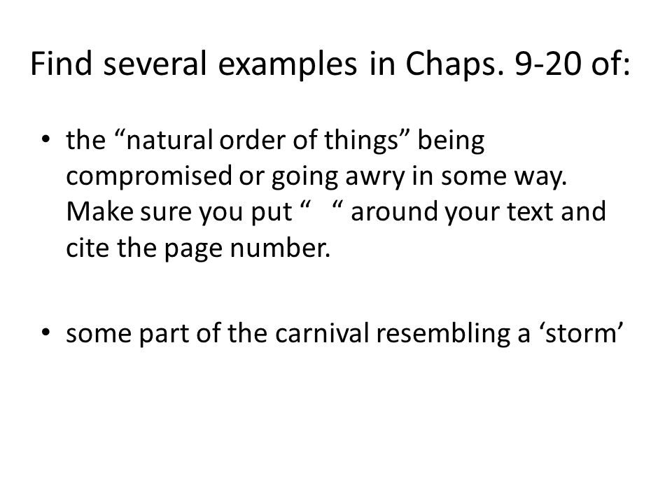 Find several examples in Chaps. 9-20 of: