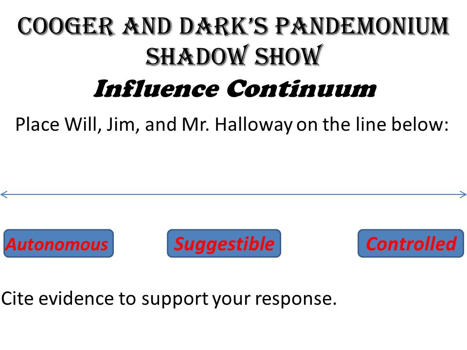 Cooger and Dark's Pandemonium Shadow Show Influence Continuum