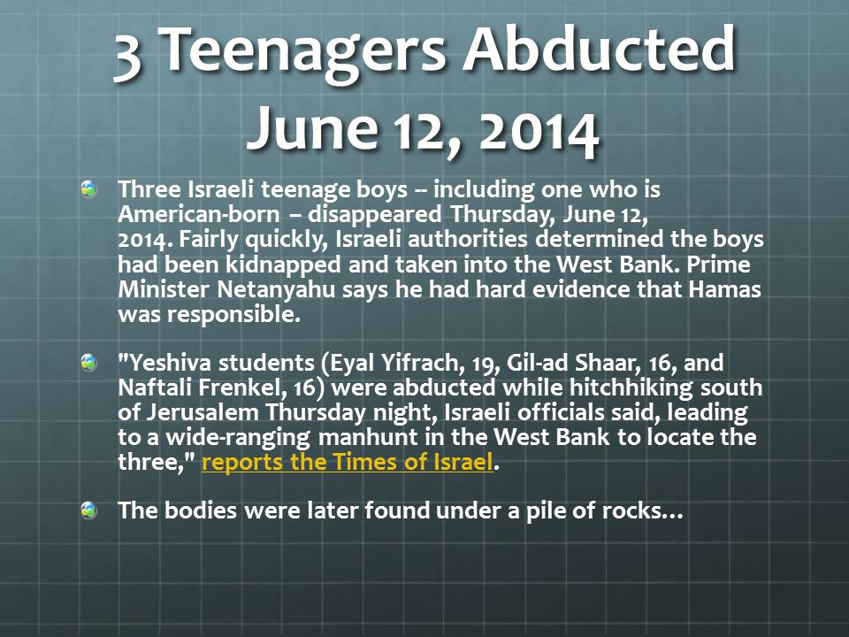 3 Teenagers Abducted June 12, 2014