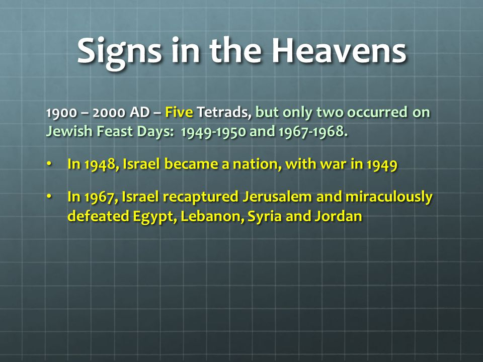 Signs in the Heavens 1900 – 2000 AD – Five Tetrads, but only two occurred on Jewish Feast Days: 1949-1950 and 1967-1968.