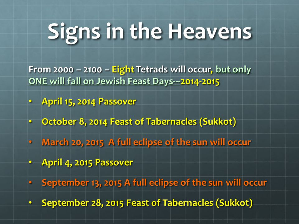 Signs in the Heavens From 2000 – 2100 – Eight Tetrads will occur, but only ONE will fall on Jewish Feast Days---2014-2015.