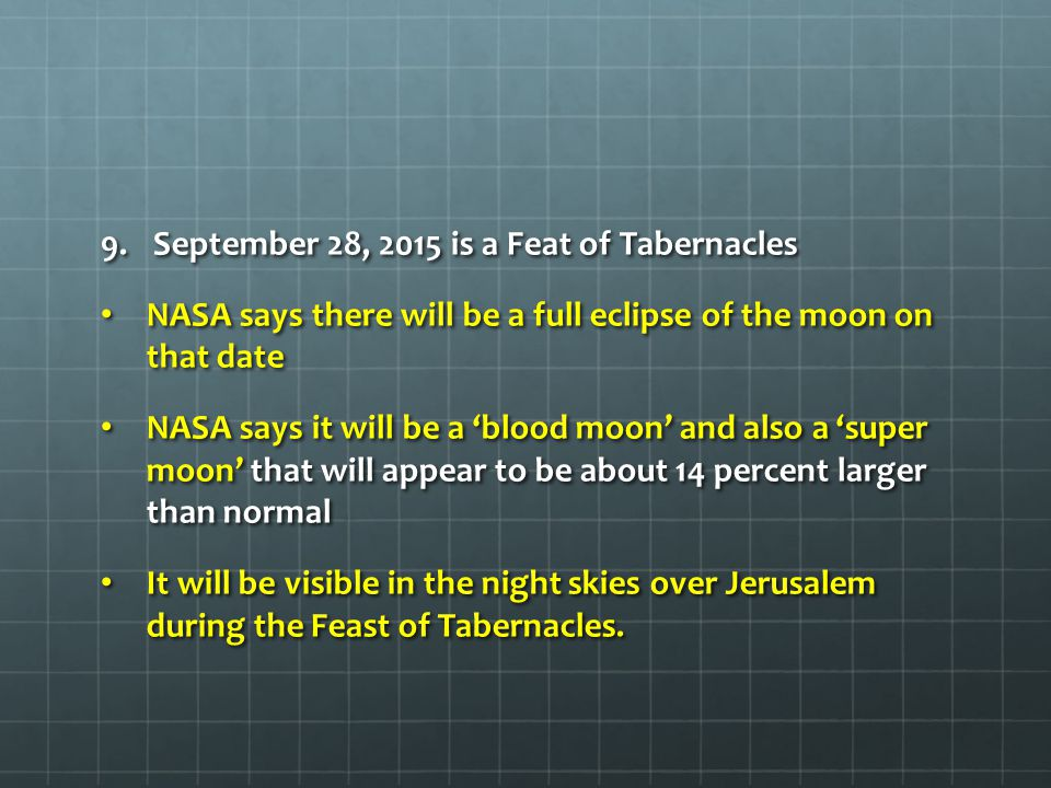 September 28, 2015 is a Feat of Tabernacles